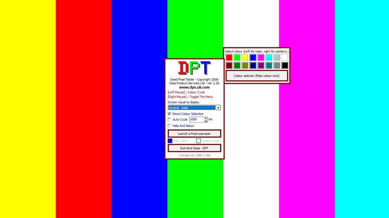 Nhiều dải màu test màn hình lỗi, phát hiện điểm ảnh bị chết bằng Dead Pixel Tester