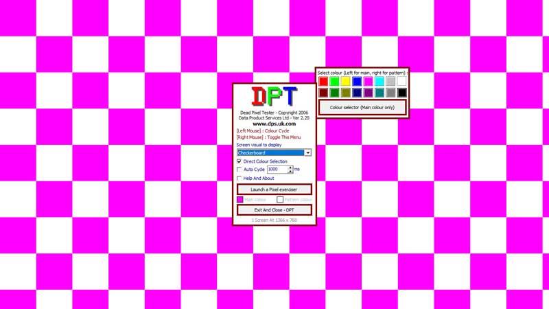 Dead Pixel Tester kiểm tra lỗi màn hình bằng sọc màu caro