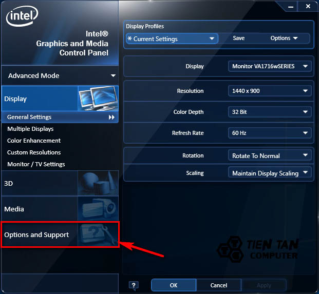 Tùy chọn Option and Support trên Intel Graphics