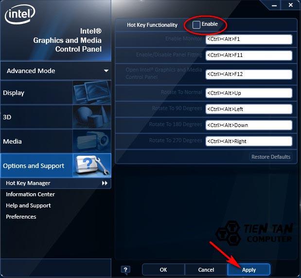 Bỏ dấu tích box Enable để vô hiệu hóa Hot Keys xoay màn hình máy tính